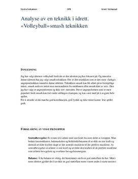 Analyse om teknikk i volleyball