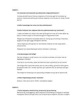 Repetisjonsspørsmål | Tro og tanke | Kap 1, 3, 5, 7