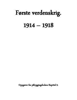 Spørsmål om Første verdenskrig - Historie Påbygg
