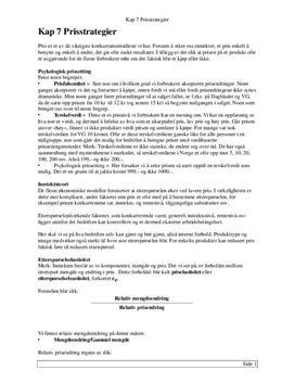 Kapittel 7 | Prisstrategier | Notater