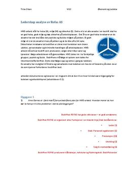 Lederskap analyse - Økonomi og ledelse