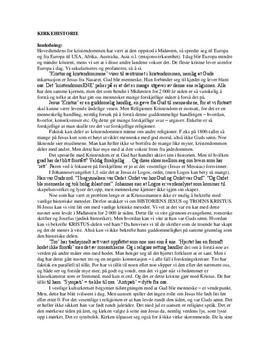 Sammendrag Kirkehistorie - Historie og filosofi