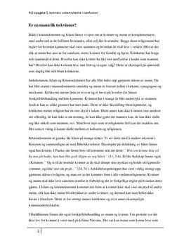 Kvinner i religion: Islam, Kristendommen og Buddhismen
