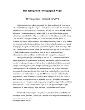 Demografisk overgang i Norge | Samfunnsfag