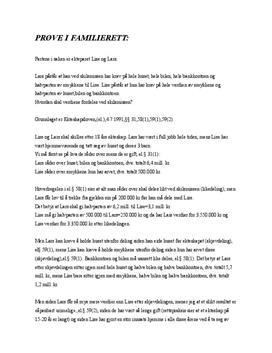 Rettslære: Prøve i Familierett | Lise og Lars