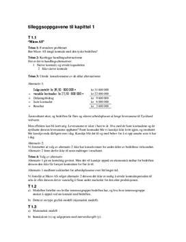 Tilleggsoppgavene til kapittel 1 - Økonomi og ledelse