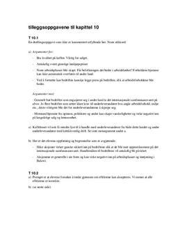 Tilleggsoppgavene til kapittel 10 - Økonomi og ledelse