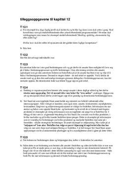 Tilleggsoppgavene til kapittel 12 - Økonomi og ledelse
