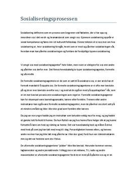 Sosialisering og sosialiseringsprosessen | Essay