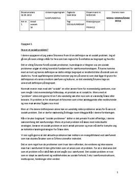 Sosialkunnskap: Eksamensbesvarelse om Sosiale problemer