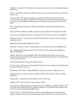 Samfunnsfaglig engelsk: Notater om britisk historie