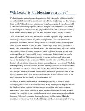 English Essay: wikileaks