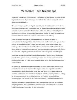 Kåseri: Mennesket - Den talende ape