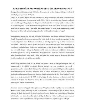 Språksituasjonen på 1800-tallet - Artikkel