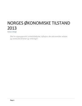 Analyse: Norges økonomiske tilstand