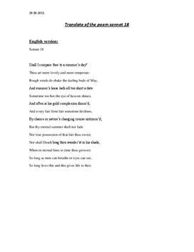 """Oversettelse av William Shakespeares """"Sonnet 18"""""""