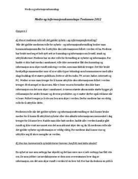 Medienes rolle i nyhets- og informasjonsformidling | Faktaoppgave