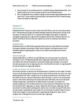 Politikk - parlamentarisme, flerpartisystem og valget 2013