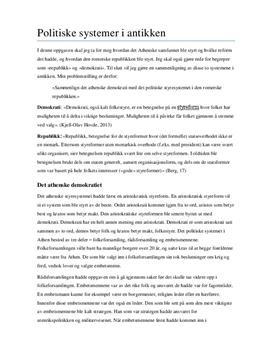 Det athenske samfunn og den romerske republikk | Sammenligning