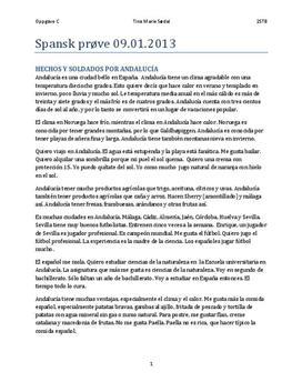 Spansk tekst om Andalucía