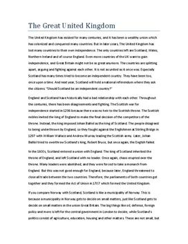 Essay on The Great United Kingdom
