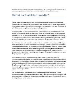 Bør vi ha dialektar i media? | Artikkel