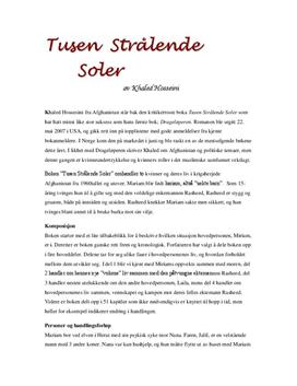 Analyse av Tusen Strålende Soler av Khaled Hosseini