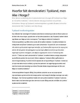 Demokratiet i Tyskland og Norge i mellomkrigstiden | Sammendrag