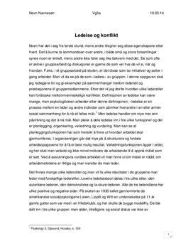 Ledelse og konflikt | Essay