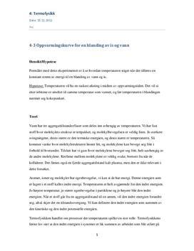 Oppvarmingskurve for en blanding av is og vann | Rapport
