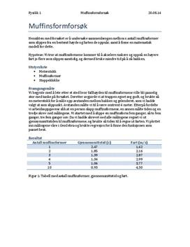 Forsøk med muffinsformer og fallhastighet| Rapport