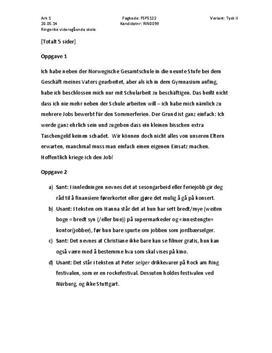 Eksamen i tysk II om arbeidssøking og arbeid