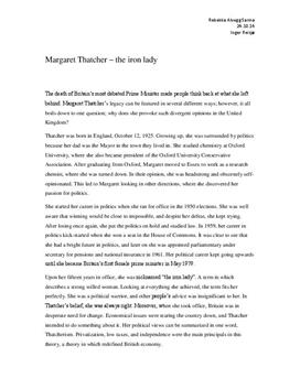 Margaret Thatcher Essay Sample