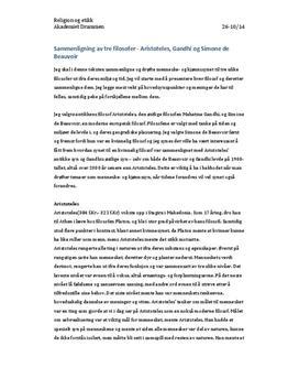 Aristoteles, Gandhi og Simone de Beauvoir   Artikkel