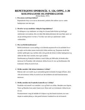 Kolonialisme og imperialisme | Repetisjonspørsmål | Historie vg3 - Påbygging