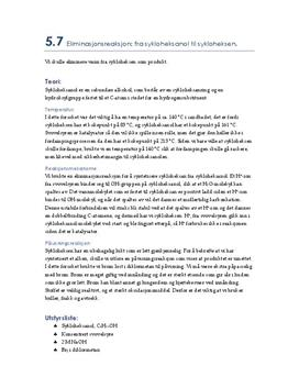 5.7 Eliminasjonsreaksjon: fra sykloheksanol til sykloheksen | Rapport