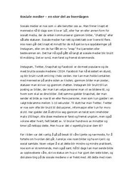 Artikkel om Sosiale medier
