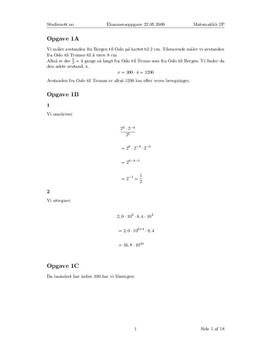 Eksamen i mattematikk 2P våren 2009