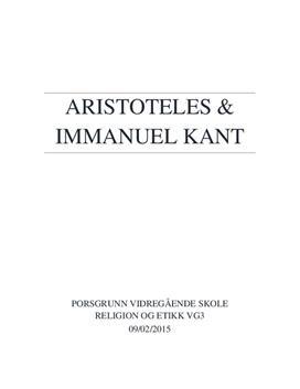 Temaoppgave | Aristoteles og Imanuel Kant