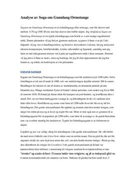 Analyse av Saga om Gunnlaug Ormstunge