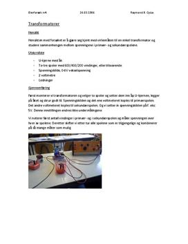 Rapport | Transformatorer
