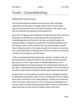 Nynorsk Artikkel | Miljøproblemer