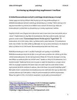 Psykologi eksamen   Ungdomer i samspill