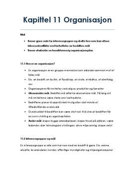 Organisasjon | Kapittel 11 | Sammendrag