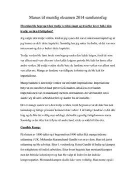 Muntlig eksamen | Den tredje verden