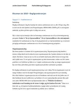 Markedsføring Eksamen | Dagligvarebransjen