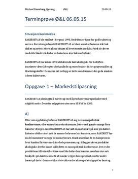 Markedstilpasning og Dekningspunktanalyse | Bakeriet AS