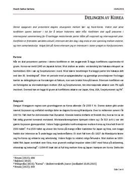 Delingen av Korea | Prosjektoppgave
