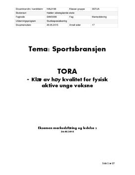 Eksamen | Markedsføring av Tora Låm
