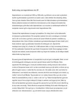 Konsekvenser av imperialismen | Innlevering